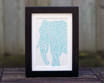 Elephant Paper Cut - 5x7 Inch (Other Colours Available)