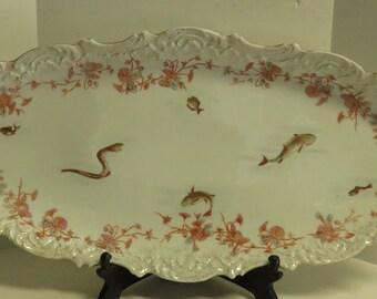 Antique Austrian Hand Painted / Transfer Porcelain Fish Serving Platter w/ 12 Dishes w/ Scalloped Edges.