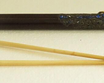 Vintage Tibetan Ornately Hand Engraved Repousse 2 Bone Chopsticks in Case.