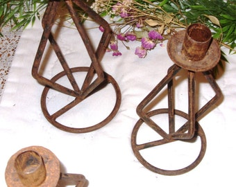 Candle Holders, Rustic Iron Candle Holders, Primitive Look Rusty Metal Candlestick Holders,  *Set of Old Iron Candle Holders, Rustic Decor