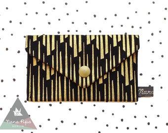 Business Cards Case / Credit Cards Case: Stripes Gold & Black