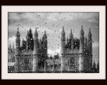London Photography, Rainy Window, Houses of Parliament, London Print, Black and White Fine Art Photography, London Art, Gothic Wall Art