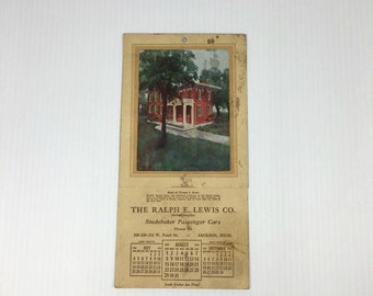 1920s Studebaker Passenger Car Advertising Calendar The Ralph E Lewis Company Jackson Michigan Vintage Studebaker Car Calendar 1920s