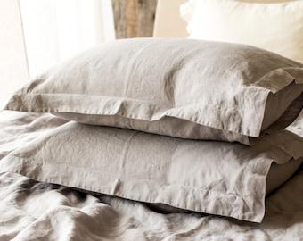 Linen PILLOW SHAM, Stonewashed linen oxford pillow case in dove grey, Softened linen pillow slip, Soft organic linen bedding, Linen pillow