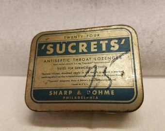 Vintage Sucrets Tin - Gold and Green