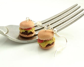 Burger Earrings,Hamburger Earring,Food Jewelry,Food Earrings,BBQ Gifts,Cheese Burgers,Fast Food Earrings,Fast Food Jewelry,Mini Food Jewelry