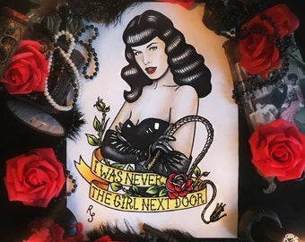 Original painting! Not a print! Bettie Page Queen of Pinups Tattoo Flash