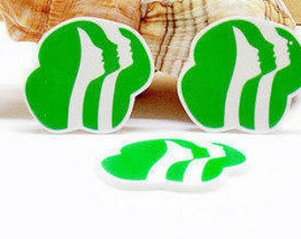 4 pcs. GIRL SCOUT LOGOS Planar flatback resins Hair bow centers 38mm