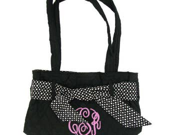 Black Quilted Purse Tote with Ribbon and Embroidery Personalization