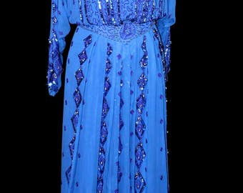 Vintage Royal Blue Hand Beaded Silk Bead and Sequined Gown Dress