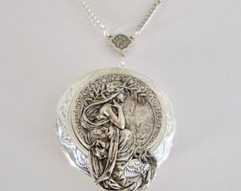 Alphonso Mucha Locket Necklace, Goddess Necklace, Mucha, Photo Locket, Art Nouveau Locket, Romantic Gift, Wedding, Bridesmaid Jewelry