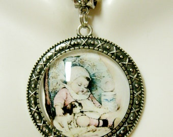 Two babies dog pendant and chain - DAP25-063