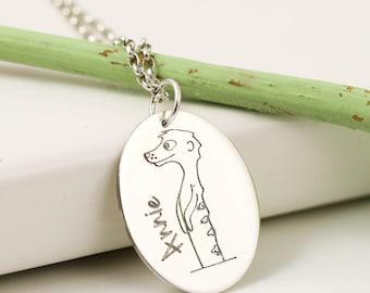 Sterling Silver Personalised Meerkat Necklace - Meerkat Name Pendant
