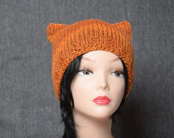 knit Cat Hat woman beanie teen beanie hat Cat Beanie rust orange brown Womens Gift knitting accessories Animal Beanie Hat