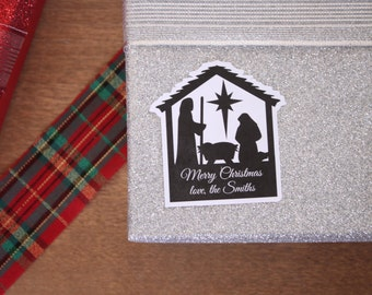 Holiday Gift Tags Christmas Stickers Holiday Labels Baby Jesus Manger Religious Christmas Wrapping Paper Labels Christmas Gift Tags Stable