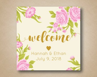 Wedding Welcome Stickers Floral Welcome Bag Labels Out of Town Hotel Guests Welcome Gift Box Gable Box Labels Welcome Tags Pink Roses