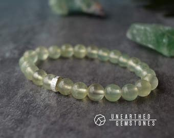 Prehnite Bracelet - Genuine Prehnite Jewelry, Lime Beaded Bracelet, Green Friendship Bracelet, Natural Crystal Bracelet