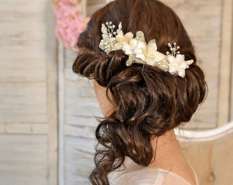 Bridal hair comb , Wedding Hair piece ,Rose gold Bridal Headpiece, Bridal Hair piece, Bridal comb, Wedding Comb, Bridal Fascinator- PATRICIA