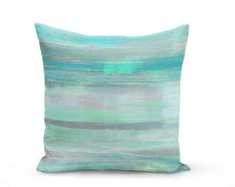 Throw Pillow Cover Teal Mint Aqua Green Grey Modern Home Decor Living Room Bedroom Accessories Cushion