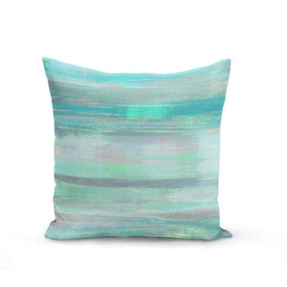 Throw Pillow Cover Teal Mint Aqua Green Grey Modern Home Decor