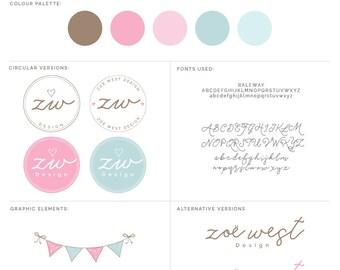 Premade Branding Package, Branding Kit, Bunting Logo, Bird Logo, Photography Package, Photography Logo, Whimsical Logo, Circle Logo