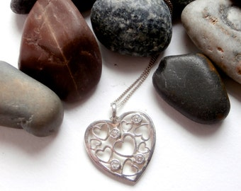 Heart Necklace - Sterling Silver - Vintage Jewellery - Cubic Zirconia