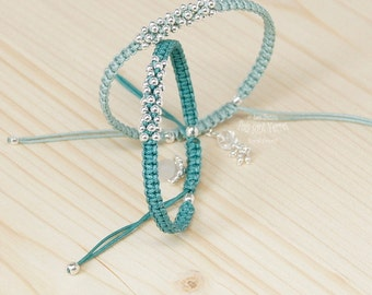 Bracelet with 925 sterling silver also available in various colors of green beads