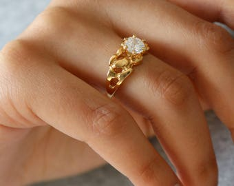 Clear Crystal Gold Ring - Solitaire Gold Ring - 7.25 ring  - Gift For Her - Crystal Gold ring