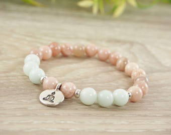 Sunstone Bracelet, Amazonite Bracelet, Yoga Bracelet, Beaded Bracelet, Buddha Bracelet, Gemstone Bracelet, For Her, Spiritual Jewelry