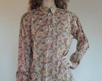 70's Cacharel Liberty mens button up shirt La Chemiserie