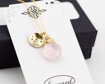 Rose Quartz Necklace Gold Pink Rose Quartz Pendant Necklace