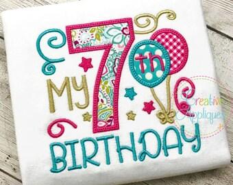My 7th Birthday Applique Digital Machine Embroidery Design 4 Sizes, 7th birthday applique, seventh birthday applique, number 7 applique