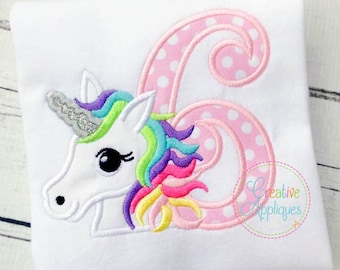 Rainbow Unicorn Birthday 6 Digital Machine Embroidery Applique Design 4 sizes, 6th birthday, 6 six sixth unicorn birthday applique