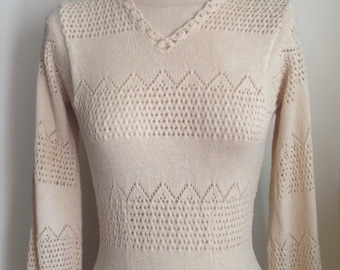 1970's Cream Crocheted Fitted V-Neck Dress with Bishop Sleeves and Ruffle/as is