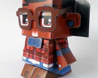 Make your own Hipster paper toy - MAVIS Cherry & Denim - D.I.Y craft activity kit. Great gift for kids and crafters - DIGITAL DOWNLOAD