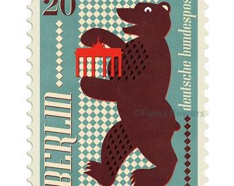 Berlin stamp giclée print