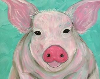Pig- Pig Painting- Pig Art- Pig Wall Art- Pig Decor- Cute Pig- Pig Artwork- Pig Lover Gift- Pink Pig- Gift for Pig Lover- Farm Animal Art-