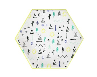 Large Campfire, Teepee, Wild One Party Plates - 12 Plates Included