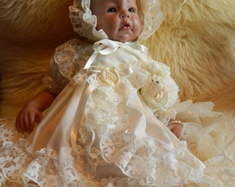 Reborn/Newborn Baby dress+hairband in   cream reborn dolls clothes silcone full body clothes