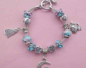 15-Cat on the Moon ~ Pand*ra Style Charm Bracelet Pink/Blue 2