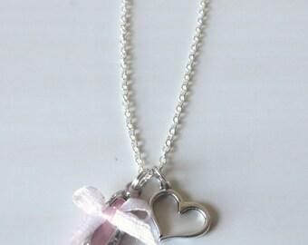 Love Ballet Floating Heart Ballet Slipper Charm Necklace You Choose Necklace Length
