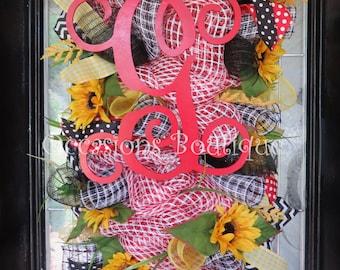 Door Swag, Summer Wreath, Monogram Wreath, Wreath for Door, Door Hanger, Deco Mesh Wreath