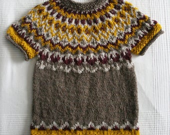 Icelandic spring sweater, fair isle, short sleeve top