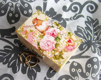 Bird ring bearer box, wedding ring box, ivory ring box, wooden ring bearer box, gold ivory wedding ring box, pillow alternative