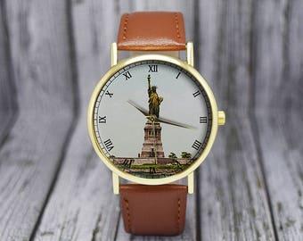 Vintage Statue of Liberty Watch | New York | Ellis Island | Leather Watch | Ladies Watch | Men's Watch | Gift Ideas | Fashion Accessory