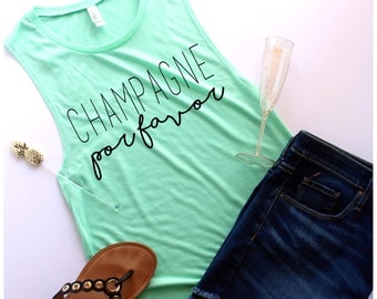 Ready to Ship, Champagne Por Favor Muscle Tank, S-XL, Workout Tank, Champagne, Champagne Shirt, Brunch Shirt, Mimosa Shirt