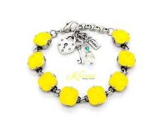 YELLOW OPAL 12mm Cushion Cut Bracelet Made With Swarovski Crystal *Pick Your Finish *Karnas Design Studio *Free Shipping