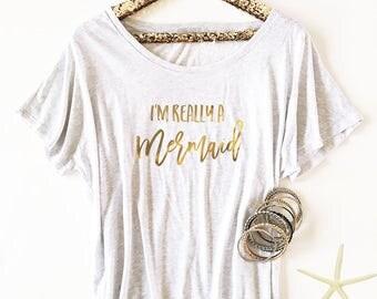 Mermaid Shirt - Im Really a Mermaid Shirt - Beach Shirt (EB3202CT)