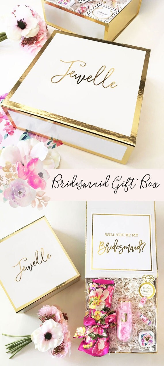 Bridesmaid Box Gifts Bride Gift Box Bridal Party Box DIY Personalized ...