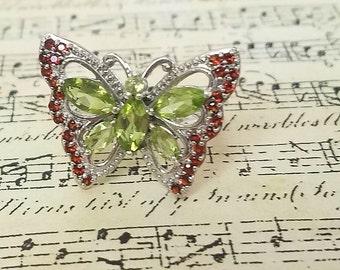 Vintage Peridot Garnet ring heirloom jewelry Gift Vintage Butterfly ring  Statement Jewelry August Birthstone January birthday anniversary